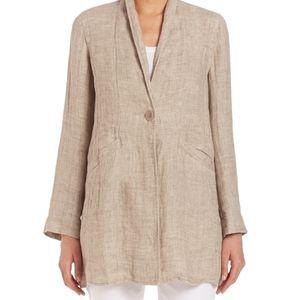 Eileen Fisher Organic Linen Single Button Jacket